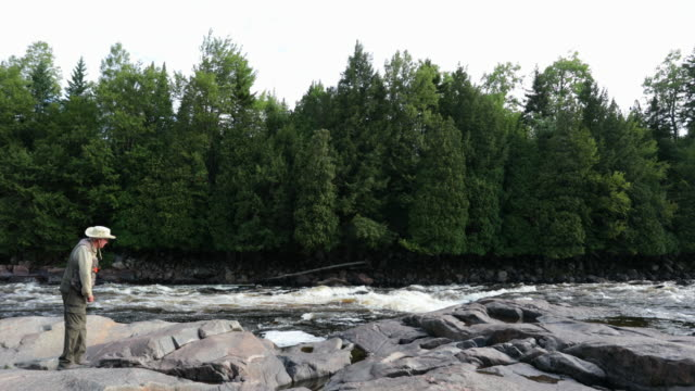 Fisherman Fly Fishing in River in the Morning video