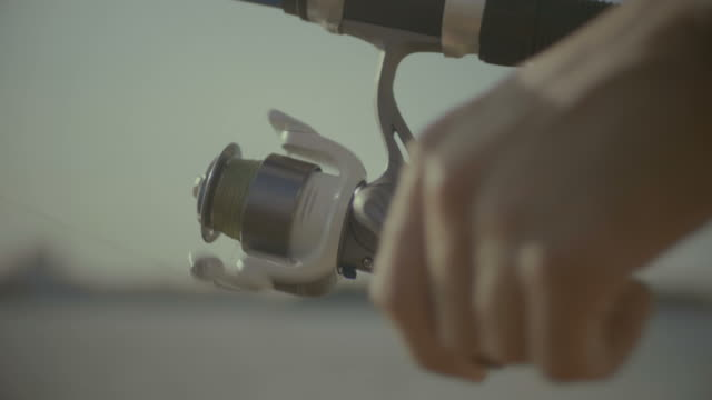 Fisherman hands twisting spinning reel Closeup of fisherman hands holding fishing rod and twisting coil while fishing. Male hands with fishing rod twisting spinning reel while catching a fish on sunny summer day. Slow motion. fishing rod stock videos & royalty-free footage