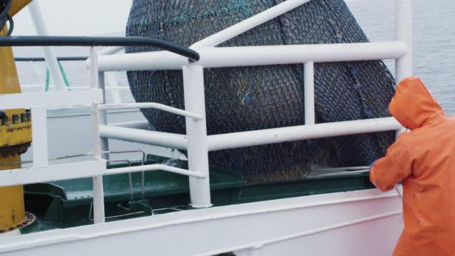 fischer öffnet schleppnetz mit spitzentrio fisch an bord der berufsfischerei schiff - netzgewebe stock-videos und b-roll-filmmaterial