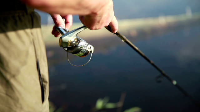 fisherman pulls the fishing line on reel - fishing stock videos and b-roll footage