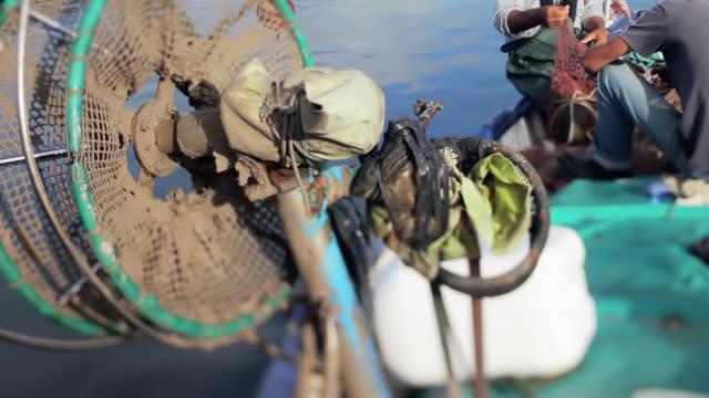 i pescatori sul lavoro, il porto di alghero, sardegna, italia - sardegna video stock e b–roll