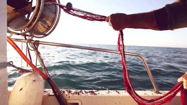 fishermen at work - fiskebåt bildbanksvideor och videomaterial från bakom kulisserna