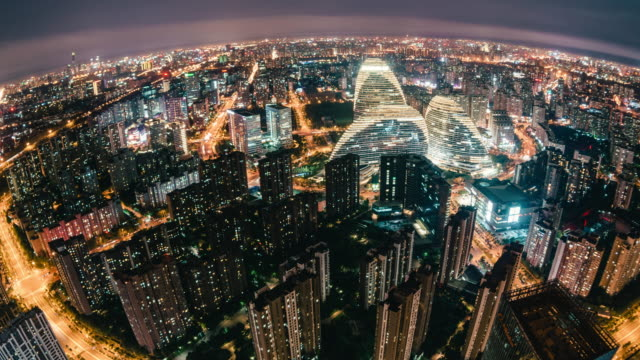 t/l pan fisheye and aerial view of beijing skyline at night - fish eye video stock e b–roll