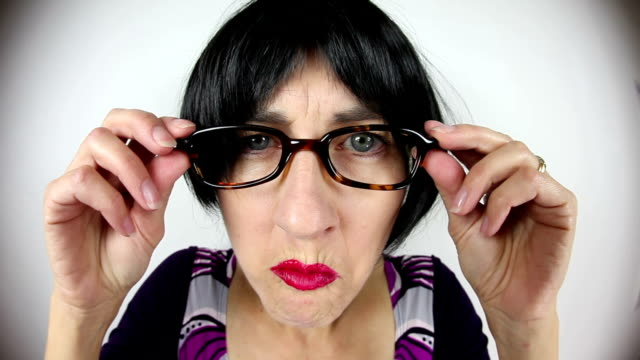 Fisheye Crabby Teacher Looking Over Glasses video