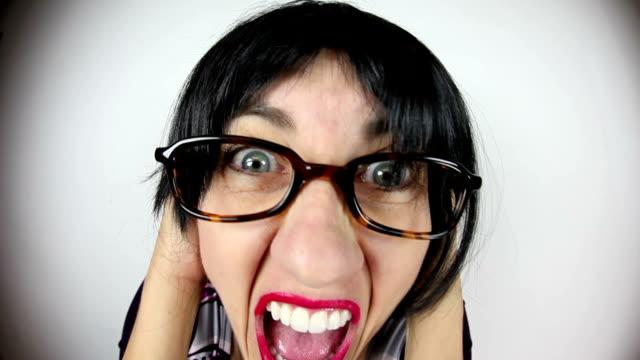 Fisheye Crabby Teacher Screaming video