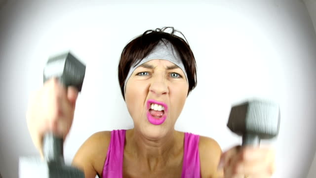 Fisheye Crazy Personal Weight Trainer Lifting and Yelling