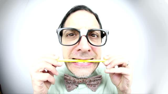 Fisheye Nervous Nerd Chewing Pencil video