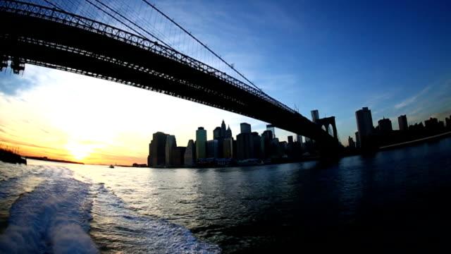 Fisheye perspective on Brooklyn Bridge and lower Manhattan
