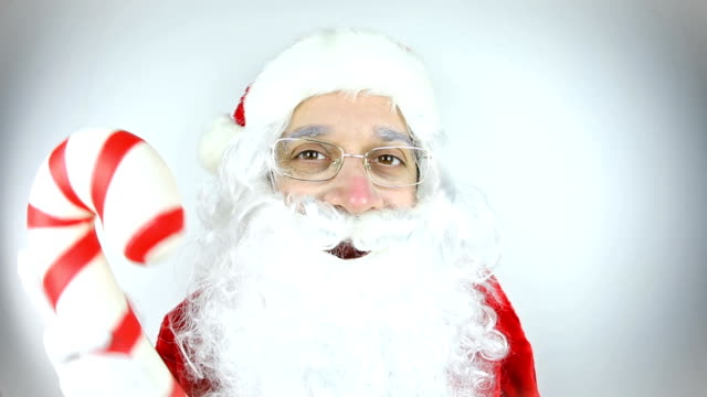 Fisheye Video Santa Claus Holding Giant Candy Cane