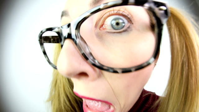 Fisheye Video Spooked Nerdy Woman