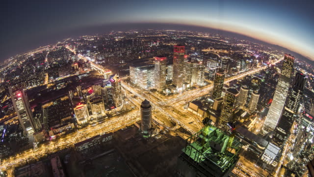 T/L WS HA Fish-eye View of Beijing Central Business District, Dusk to Night Transition / Beijing, China video