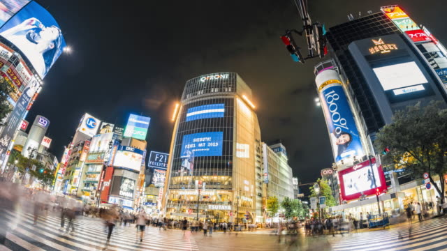 t/l ws渋谷交差点の魚眼展望 (東京) - 広角撮影点の映像素材/bロール