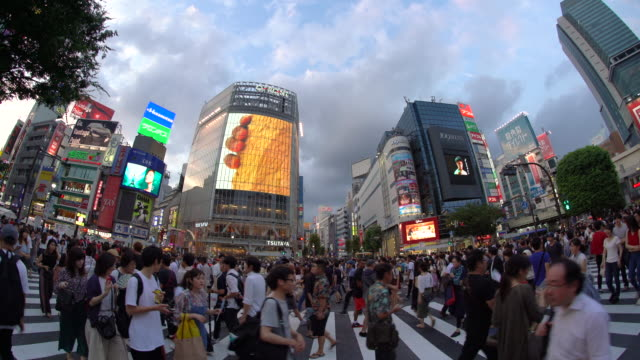 澀谷十字路口的ws魚眼景觀 / 日本東京 - 澀谷交叉點 個影片檔及 b 捲影像