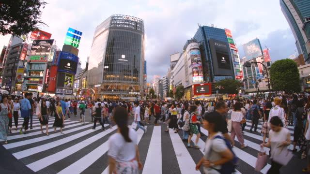 日本東京澀谷交叉口的魚眼觀 - 澀谷交叉點 個影片檔及 b 捲影像