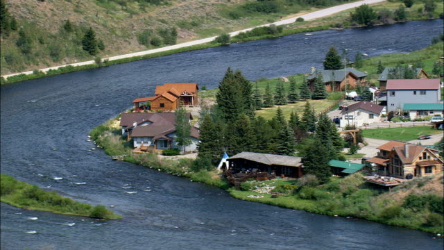 Fishing And Holiday Houses On Madison River  - Aerial View - Montana,  Madison County,  helicopter filming,  aerial video,  cineflex,  establishing shot,  United States video