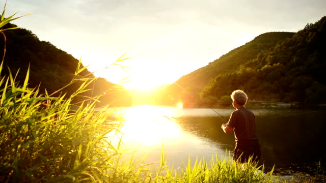 Fishing at sunset Video of a senior Fisherman fishing in a lake at sunset. Mixed videos. fishing rod stock videos & royalty-free footage