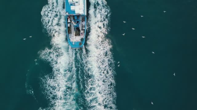 fishing boat aerial view in the middle of the sea - fishing video stock e b–roll