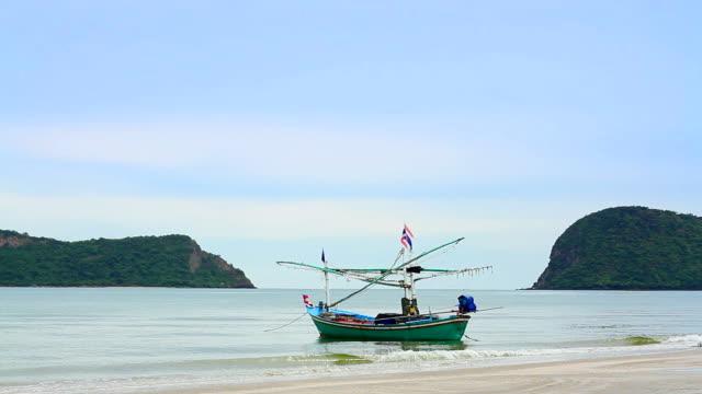 Fishing boat at beach video
