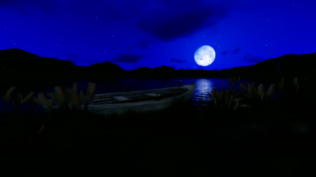 Fishing boat on a lake surrounded by mountains with full moon against starry sky, 4K