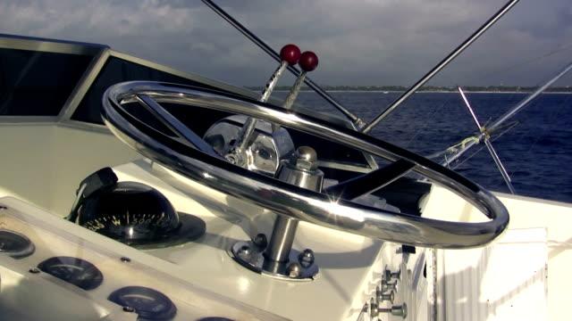 Fishing Boat Steering Wheel Closeup video