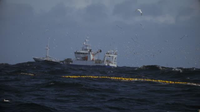 fishing boat trawler sailing a rough north sea - ruvido video stock e b–roll