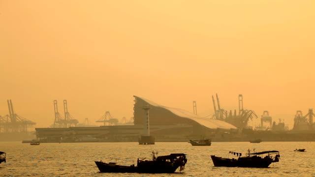 Fishing boats at sea; Shenzhen, China video