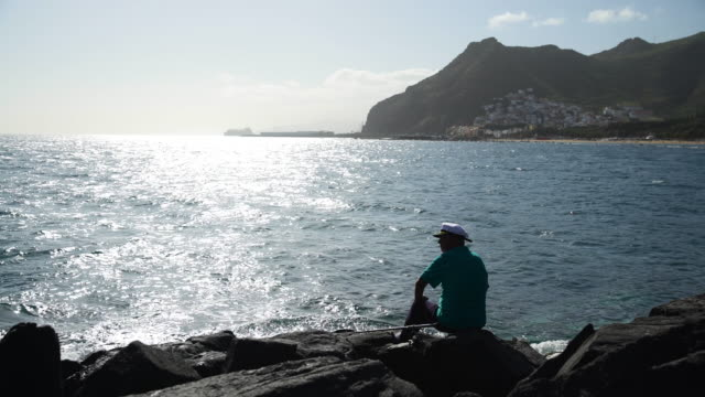 Fishing on mountainous coastline of Tenerife