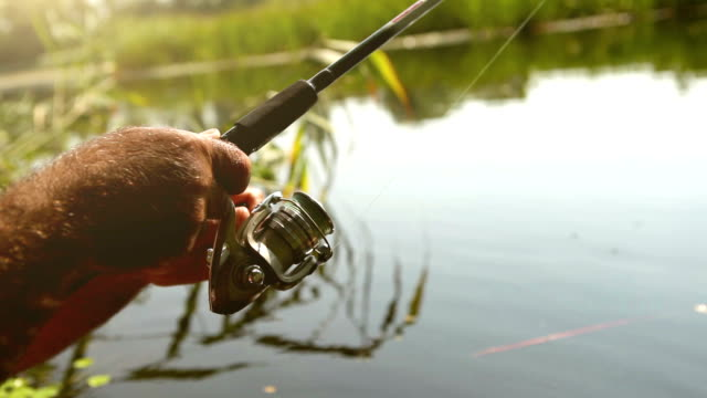 Fishing reel close up footage video