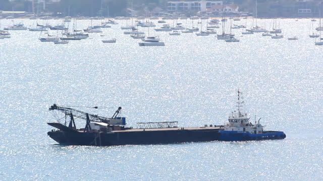 Fishing trawler sails into open sea video