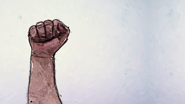 knytnäve uppväckte. symbol för kampen mot rasism - etnicitet bildbanksvideor och videomaterial från bakom kulisserna