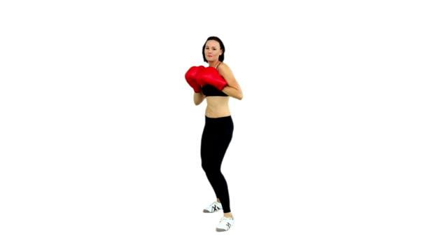 dopasowanie brunette boks z czerwone rękawice - biustonosz sportowy filmów i materiałów b-roll