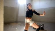 istock Fit dancing girl 615474812