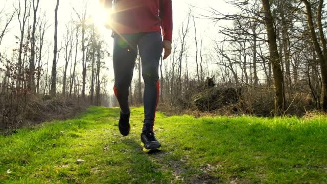 HD-SLOW-MOTION: Fit Mann zu Fuß In der Natur – Video
