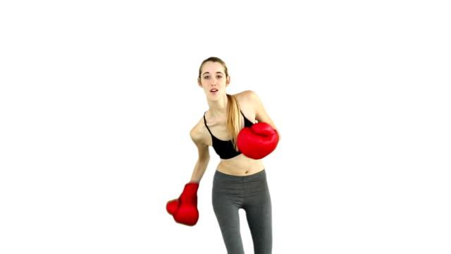 dopasowanie modelu dziurkarki z czerwone rękawice bokserskie - biustonosz sportowy filmów i materiałów b-roll