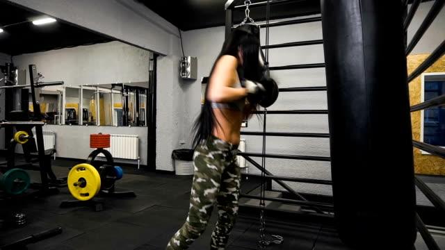 Fit Slim Young Beautiful Brunette Woman Boxing In Sportswear Dark Dim Light Toned Image