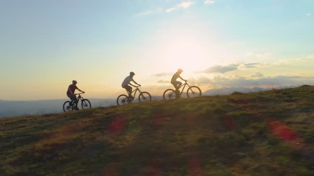 AERIAL SILHOUETTE: Fit tourists riding bicycles along a grassy path on sunny day video