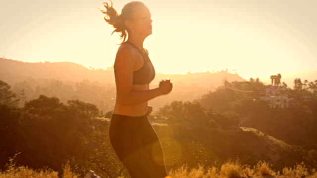 Fit Woman Jogging Los Angeles Slow-Motion video