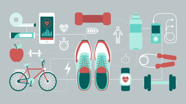 fitness and sports - icon set healthy video stock e b–roll