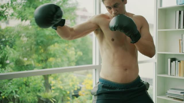 vídeos de stock e filmes b-roll de fitness man exercise with boxing - treino em casa