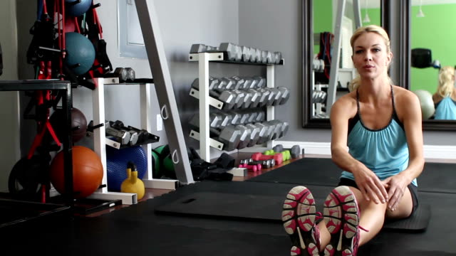 Fitness Woman Stretches Track Right video