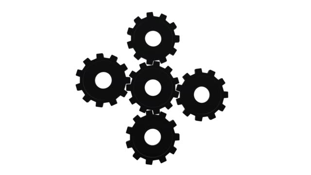 five black gears spinning flies . white background. alpha channel - cinque oggetti video stock e b–roll