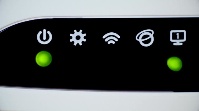 Five Blinking Lights on Wi-Fi Network Router video