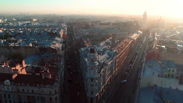 Five Corners in Saint Petersburg Russia summer day saint petersburg cityscape aerial panorama - Crossroads five corners treedeo saint petersburg stock videos & royalty-free footage