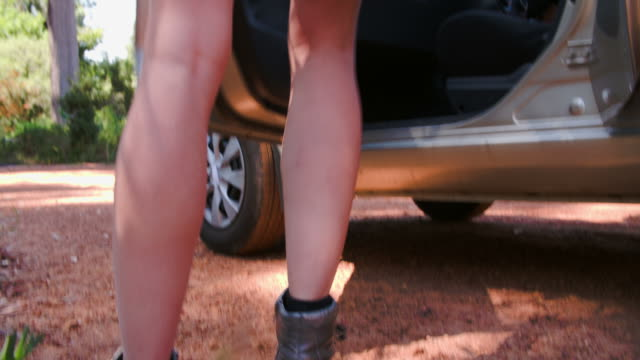 cinque amici uscire di un'auto nel parcheggio rurale - sportello d'auto video stock e b–roll