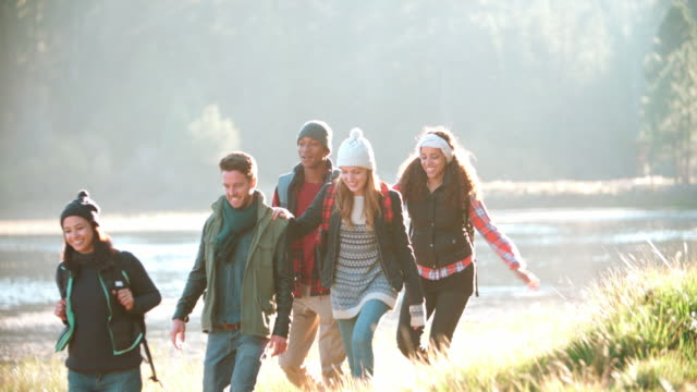 Five friends on a camping trip walking in a row near a lake video