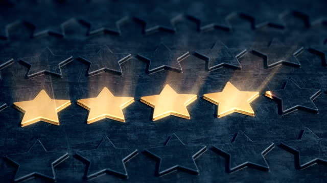 Five golden stars appear on the black relief surface. The concept of company reputation and business excellence. 4K UHD FullHD. Loopable, 3D rendering. satisfaction stock videos & royalty-free footage