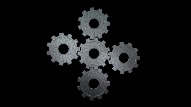 five gray gears spinning flies . black background. alpha channel - cinque oggetti video stock e b–roll
