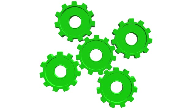 five green gears spinning . white background. alpha channel - cinque oggetti video stock e b–roll