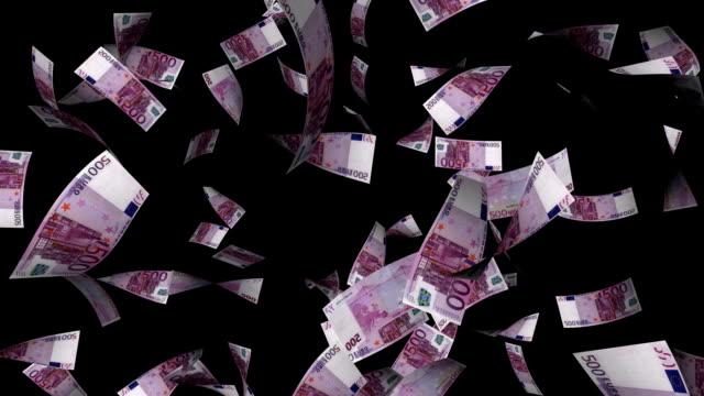 Five Hundreds Euros Bills Falling with Alpha Channel