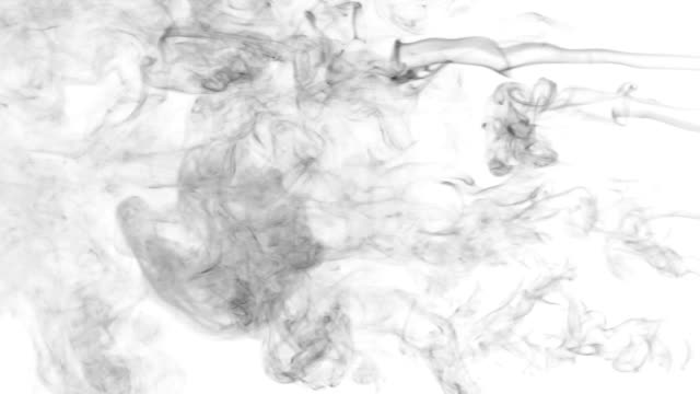 Five lines black smoke on a white background. Beautifully the smoke line video